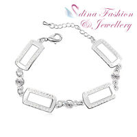 18K White Gold Plated Made With Swarovski Crystal Four Rectangle White Bracelet