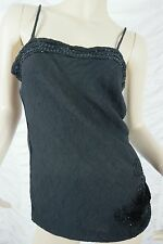 PEACE ANGEL black sequin embellshed 100% cotton singlet top size S EUC