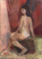 """Russischer Realist Expressionist Öl Leinwand """"Frauneakt"""" 82x60 cm"""