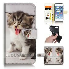 ( For iPod Touch 6 ) Wallet Flip Case Cover AJ40253 Cute Pussy Cat
