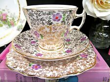 PHOENIX TEA CUP AND SAUCER TRIO CHINTZ PAINTED BEADED FLORAL TEACUP ENGLAND