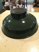 Vintage Enamel Industrial Light Shade Green 14 In Diameter 4 Inch Opening