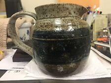 Vintage Pitcher Brown/Blue Grey Handmade Pottery Signed Zelda Simon