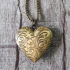Elegant Flower Heart Love Vintage Brass Bronze Picture Locket Pendant Necklace