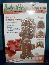 GINGERBREAD VILLAGE SILICONE CHRISTMAS MOLDS SET OF 3 vtm