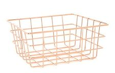 MODERN COPPER ROSE GOLD WIRE MESH BASKET STORAGE BEDROOM OFFICE BATHROOM
