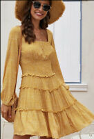 M Sunshine Boho Calico Small Print Tiered Summer Dress Medium NWT New USA Ship