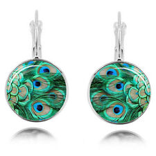 Green Peacock Fathers Glass Round Hoops Earrings for Women Costume Jewellery