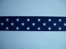 """Navy Blue with White Stars Grosgrain Ribbon 4 hairbow  1"""""""