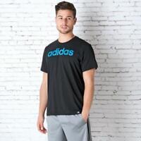 "New adidas QQR Linear Logo Mens Cotton Crew T-Shirt top - Sz S (36-38"")  Black"