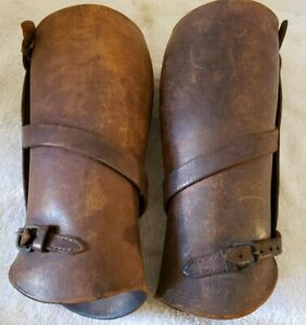 Vintage Authentic WWI U.s. Army Cavalry Officer's Leather Leggings Leg Gaiters