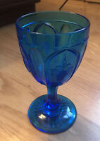 Vintage Fenton Red Cliff Aqua Blue Glass Grape Water Wine Goblet Pressed Glass