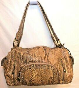 Kathy, Van Zeeland, beige, Vegan, snake textured purse with studs & heart charms