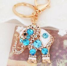 Lucky Blue Elephant Keychain Colorful Rhinestone Crystal Opal Plating Design A