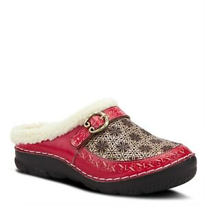 L'Artiste Lecie Red leather hand painted faux fur lined clog EUR 42 US 11