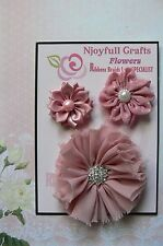 HANDMADE 3 Flower Mix DUSTY PINK Organza Satin 35, 45 & 70mm NjoyfullCrafts