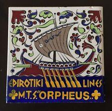 """TILE, MTS """"Orpheus Epirotiki Lines Icaros Ceramics Rhodes Greek Ship"""