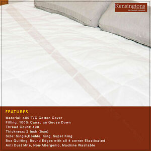 Canadian Goose Down Mattress Topper Protector Single Double King Super King Size