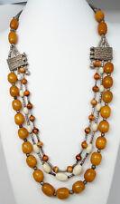 Antique Tribal Silver & Butterscotch Faturan Amber Bakelite Ethnic Necklace 195g