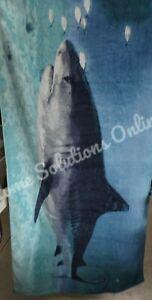 """Pottery Barn Teen Photoreal Shark Beach Pool Towel Blue Ocean 64"""" READ! 9848R"""