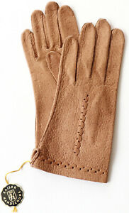 Gloves Leather Emperor Finger Braided Pattern Unlined Camel Braun 6 3/4 S