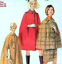 """Vintage 60s Mod CAPE & SKIRT Sewing Pattern Bust 34"""" 87 cm Sz 10 Retro REVIVAL"""