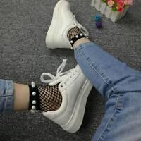 Women's Fashion Ruffle Fishnet Ankle High Socks Mesh Lace Short Socks With Pearl
