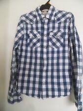 HOLLISTER Mens Medium Blue Plaid Western Shirt Long Sleeve Button Down