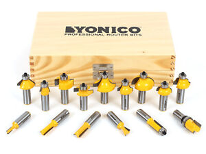 "15 Bit Carbide Tipped Router Bit Starter Set - 1/2"" Shank - Yonico 17150"