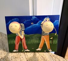 Whimsical Golf Coat Hook Hand Painted Wooden Wall Mount Hanger . 2 Head Hook