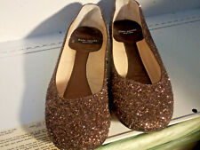 Kate Spade N.Y.- Women's Size 6 1/2 - BROWN & GOLD GLITTER Slide on Flat Shoes