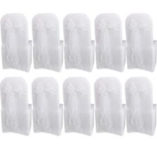 10 White Organza Chair Cover Sashes Bow for Wedding Party Birthday Decor L6