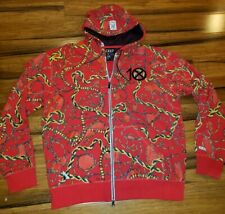 10 Deep full zip hoodie men sz 2XL red gold rope chain all over print