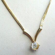 Superbe collier plaqué or solitaire cristal diamant bijou vintage 5153