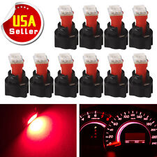 10x PC74 T5 Instrument Panel Gauge Cluster Red Led Light Bulb+Twist Socket