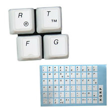 USA Laminated QWERTY Keyboard Stickers with Black Lettering on White Background