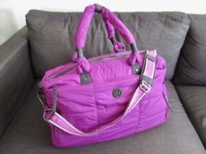 EUC Rare Lululemon Bon Voyage Duffel Gym Bag Power Purple Large Shoulder Duffle