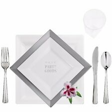 240 Table Setting Elegant Disposable Square Plates-Cups-Cutlery White-Silver