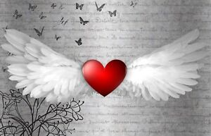 BEAUTIFUL ANGEL WINGS HEART CANVAS PICTURE #85 WALL ART CANVAS WALL HANGING