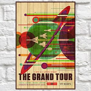 NASA travel poster art Birthday gift for Men gift Panel effect Wood wall art