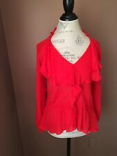 haute hippie Top Blouse Silk Shirt Red Siza Small 4