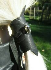 Black Leather SKULL Ponytail Holder Hair Jewelry Cuff Tie Pigtail Wrap Accessory