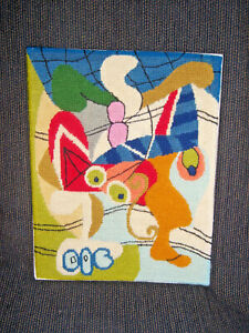 Vintage Textile Art Needlepoint Embroidery Panel Picasso 'Still Life On A Table'