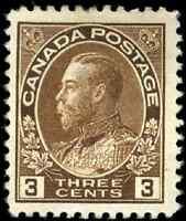Canada #108 mint F-VF OG DG 1918 King George V 3c brown Admiral CV$25.00