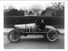 "+PC-Postcard-""Guy In Race Car"" -Parked/Front of White House-  (B-87)"