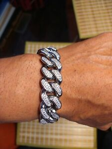 20mm Stainless Steal Iced out Miami Cuban Link  8 Inch Bracelet
