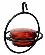 New listing Monarch Abode Circular Hummingbird Feeder Red Glass Feeder with Perch