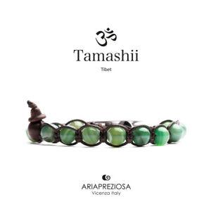 TAMASHII TIBET BRACCIALE UNISEX AGATA VERDE STRIATA   BHS900-140 NUOVO