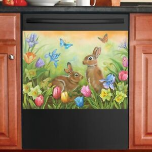Easter Bunnies In Garden Of Tulips & Butterfly Kitchen Dishwasher Cover Magnet