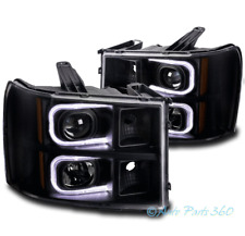 FOR 07-13 GMC SIERRA 1500 2500 3500 OPTIC LED BLACK PROJECTOR HEADLIGHTS LAMPS